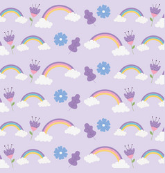 rainbows clouds flowers ornament fantasy magic vector image
