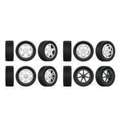realistic tires 3d auto tyres and alloy vector image