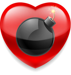 Red heart with bomb vector