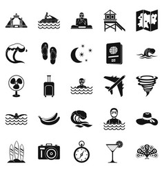 rest on the ocean icons set simple style vector image