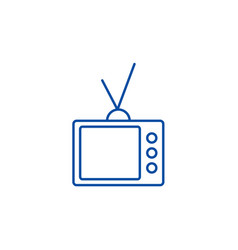 retro tv line icon concept retro tv flat vector image