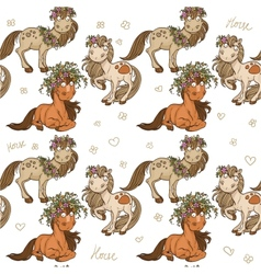 Seamless pattern with cartoon horses vector