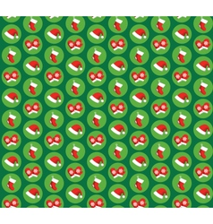 Seamless Pattern with Christmas Icons Gloves Hats vector image