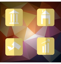 Set business icons flat style with shadow on the vector image