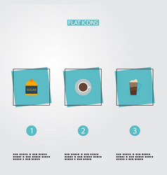 set of beverage icons flat style symbols with cup vector image