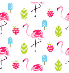 Summer pattern with flamingo ice cream and vector