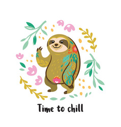 Time to chill cute sloth bear animal vector