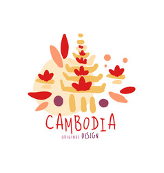 Travel to cambodia logo design vector