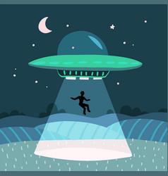 Ufo abducting a men summer night farm landscape vector