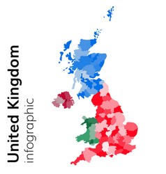 united kingdom map divided on regions vector image