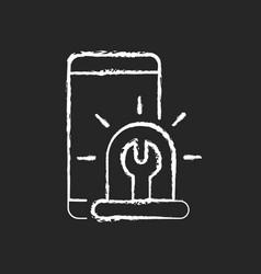 Urgent phone repairs chalk white icon on dark vector