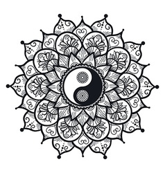 Vintage Yin and Yang in Mandala vector