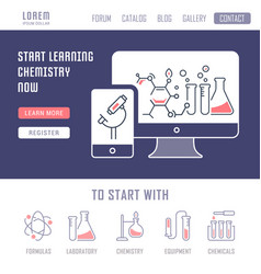 Website banner and landing page chemistry vector