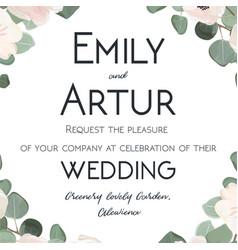 Wedding invitation floral invite card watercolor vector