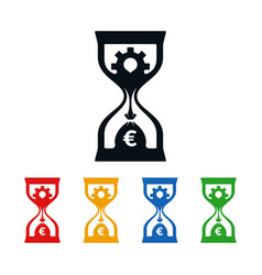 wheel and euro symbol in hourglass vector image