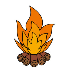 Wooden campfire isolated icon vector