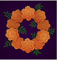 Wreath of orange marigolds vector