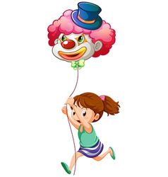 A young girl running with a clown balloon vector image