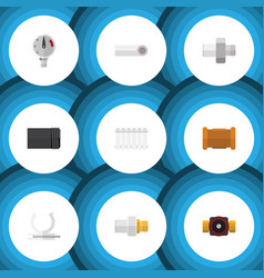 flat icon sanitary set of pipe industry pressure vector image