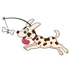Funny dog cartoon running vector image