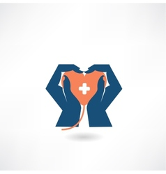 hands holding the heart donor icon vector image vector image