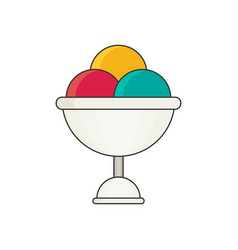 ice cream in color flat icon style vector image