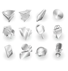 metal metallic web and application icon set vector image