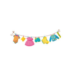 baby clothes hanging on rope striped bodysuit vector image