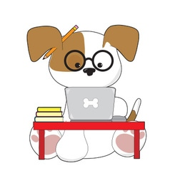 Cute Puppy and Laptop vector image