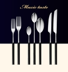 Cutlery Spoon fork and knife stacked up on table vector image vector image