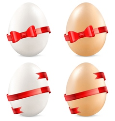 eggs with red bow vector image vector image