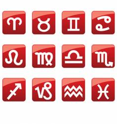glossy buttons with horoscope symbols vector image