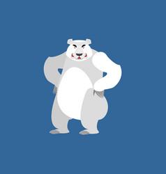 Polar bear angry emoji wild animal arctic and vector