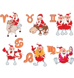 Set of Zodiac symbols with Cute Santa Claus vector image