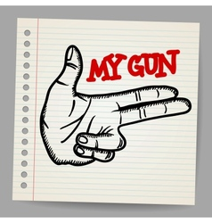 Cartoon gun two fingers sign vector image