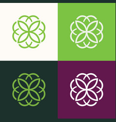 round flower green set logo vector image