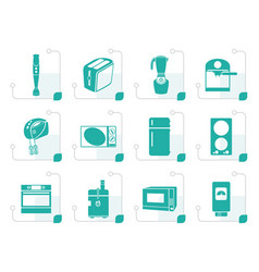 stylized kitchen and home equipment icons vector image vector image