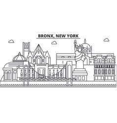 bronx new york architecture line skyline vector image