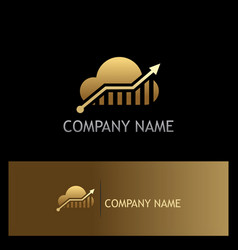 cloud arrow technology gold logo vector image vector image