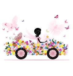 girl on a romantic flower car vector image