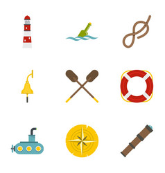 sea icons set flat style vector image