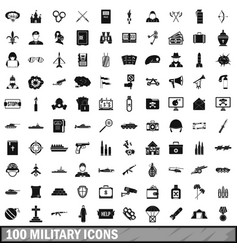 100 military icons set simple style vector