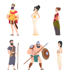 Ancient rome characters coliseum gladiator vector