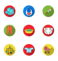 Baby born set icons in flat style Big collection vector