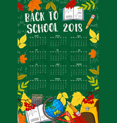Back to school 2018 calendar chalkboard vector