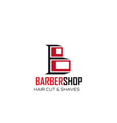 barbershop hair and shave letter b icon vector image
