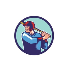 Baseball Player Batter Batting Circle Woodcut vector image
