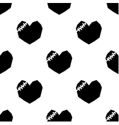 black broken heart on white background vector image
