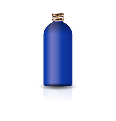 blank blue cosmetic round bottle with copper lid vector image