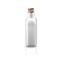 Blank white cosmetic square bottle with screw lid vector